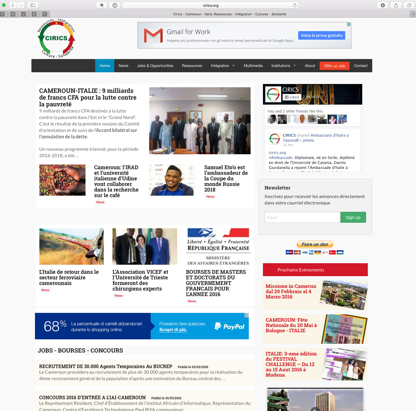 Cirics - Camerun-Italia-Risorse-Integrazione-Cultura-Solidarietà